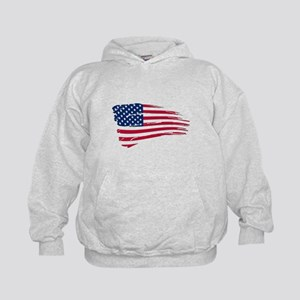 Tattered US Flag Kids Hoodie